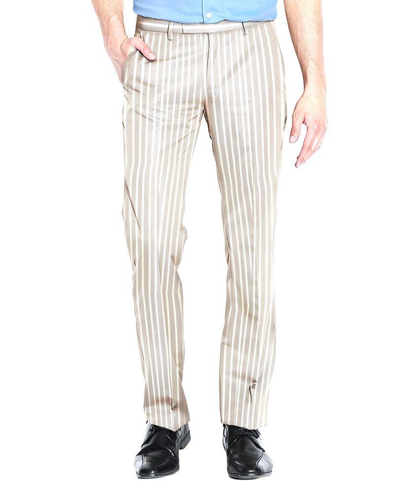 AID Studio's Trousers Beige Cotton Blend Slim Fit Casual Trouser