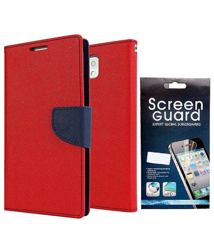 Clickaway Flip Cover For Motorola Moto G2 - Red With Screen Guard