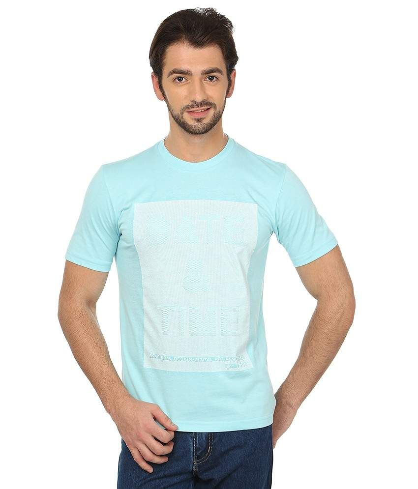 Date And Time Blue Cotton Blend T-Shirt