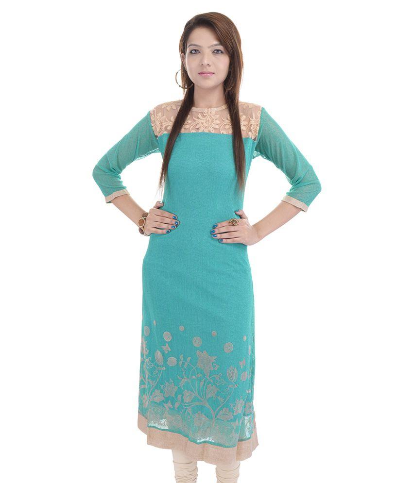 Dumdaar.com Turquoise Cotton Silk Kurti