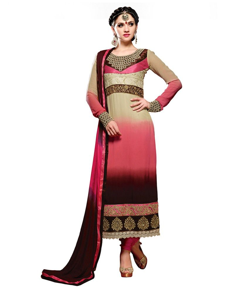 Kartik Creation Pink Pure Georgette Unstitched Dress Material