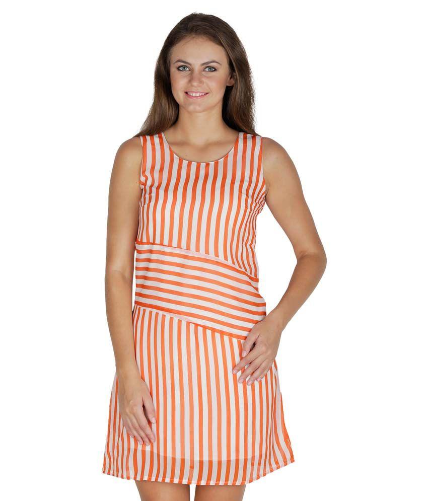 Mayra Orange Poly Crepe Dresses