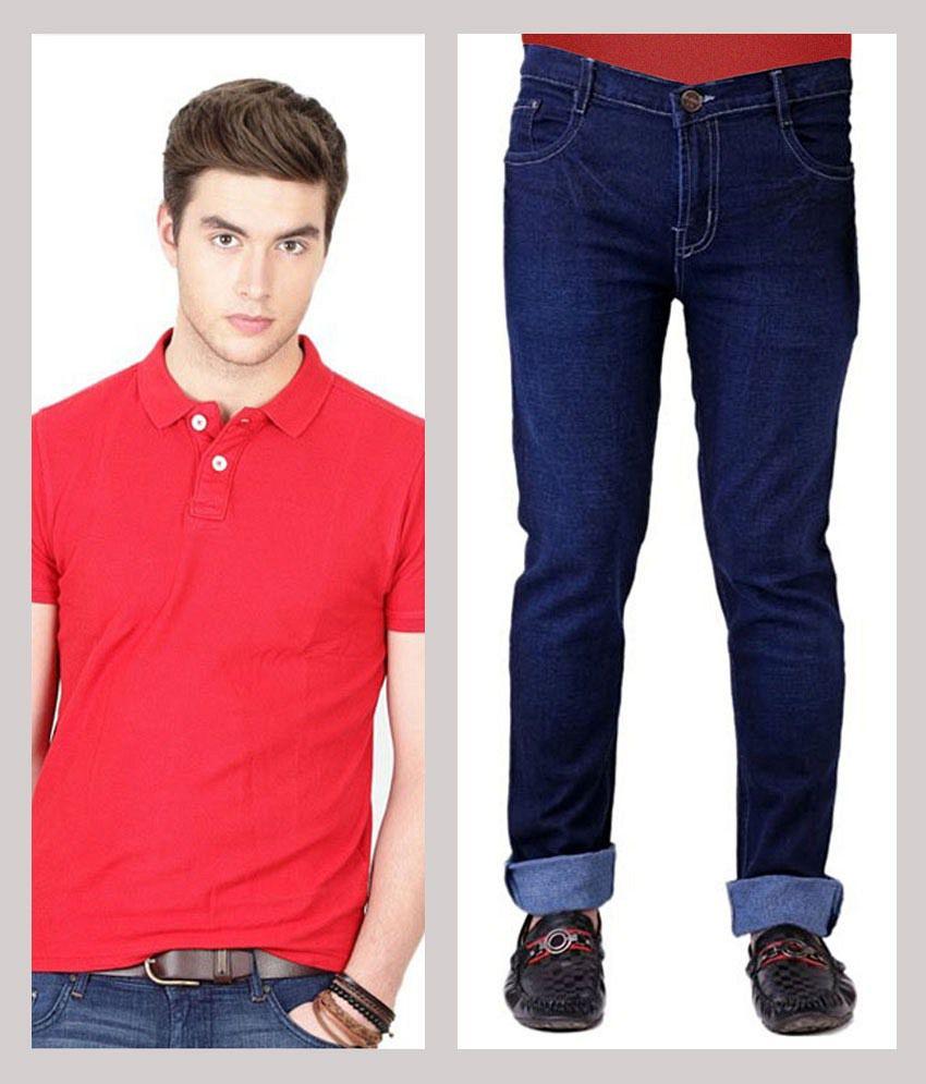 Haltung  Jeans & Polo T-shirt Combo