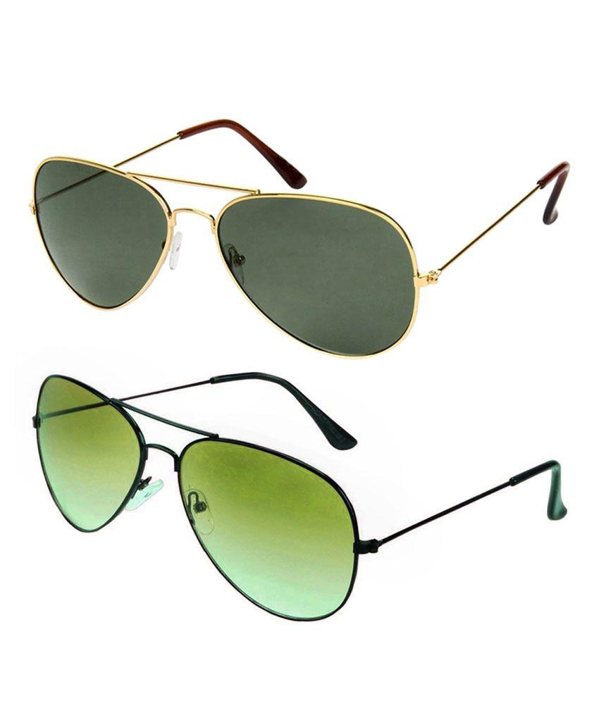 Savannah Green Aviator Sunglasses - Combo of 2