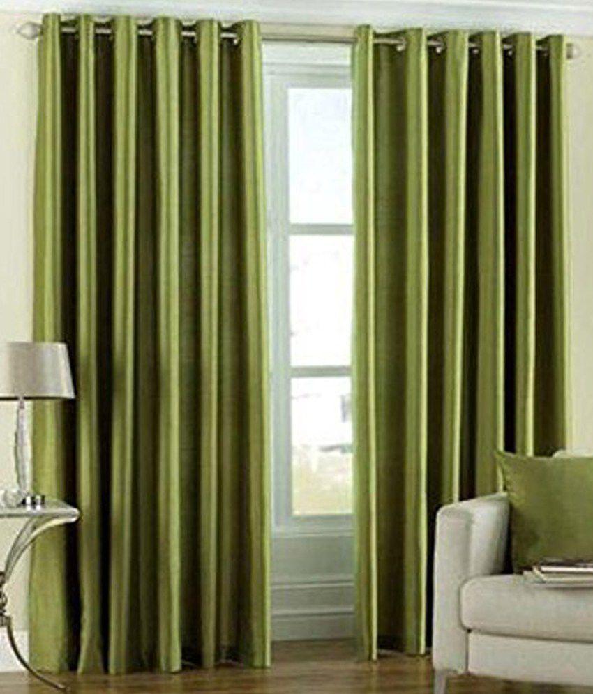 Tanishka Fabs Set of 2 Door Eyelet Curtains Floral Green