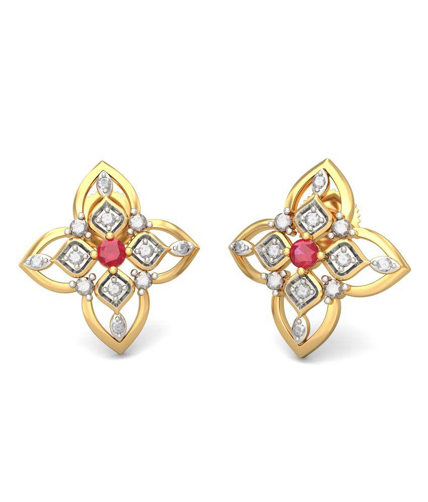 Bluestone 18kt Gold Diamond & Ruby Kshanika Earrings