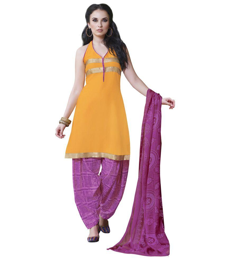 Khobee Yellow Art Crepe Unstitched Dress Material