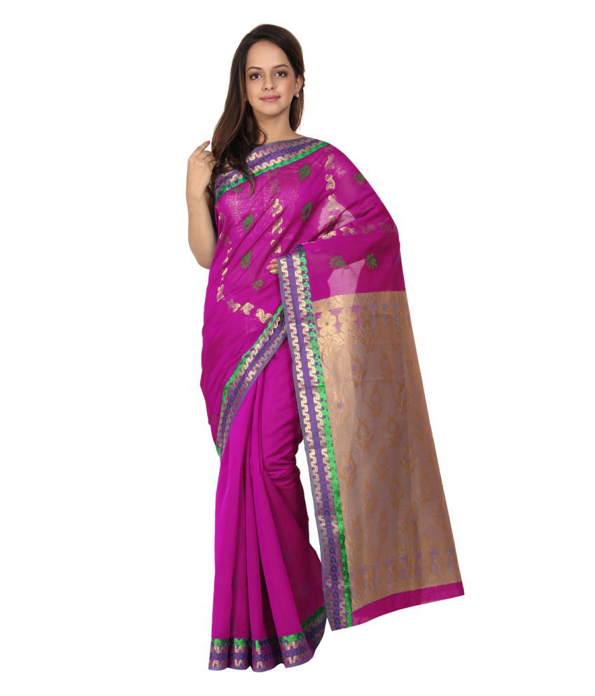 Platinum Purple and Green Silk Saree with Blouse Piece