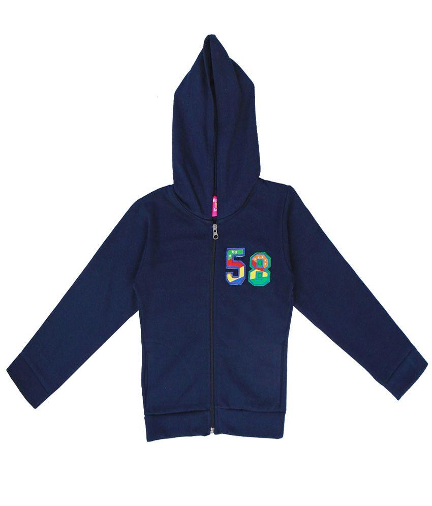 Sweet Angel Navy Color Zipper Sweatshirt For Kids