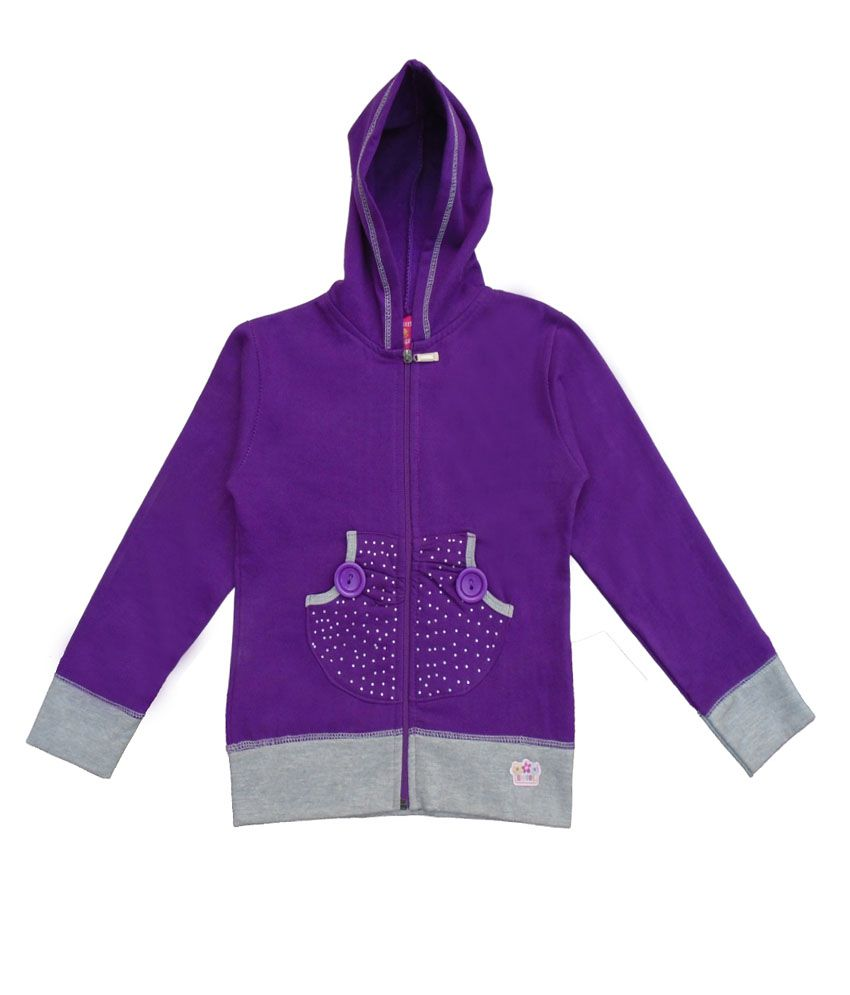 Sweet Angel Purple Color Zipper Sweatshirt For Kids