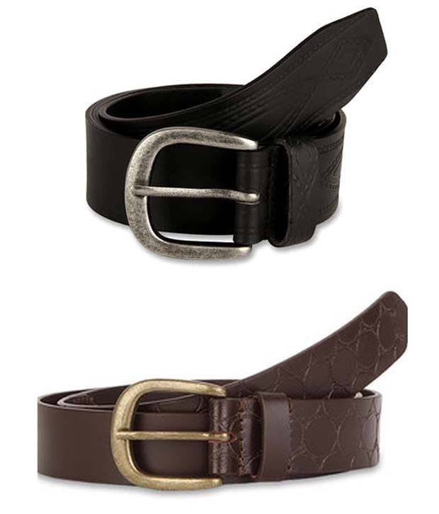 Paradigm Design Lab Combo of 100% Genuine Brown & Black Leather Casual Belts for Men