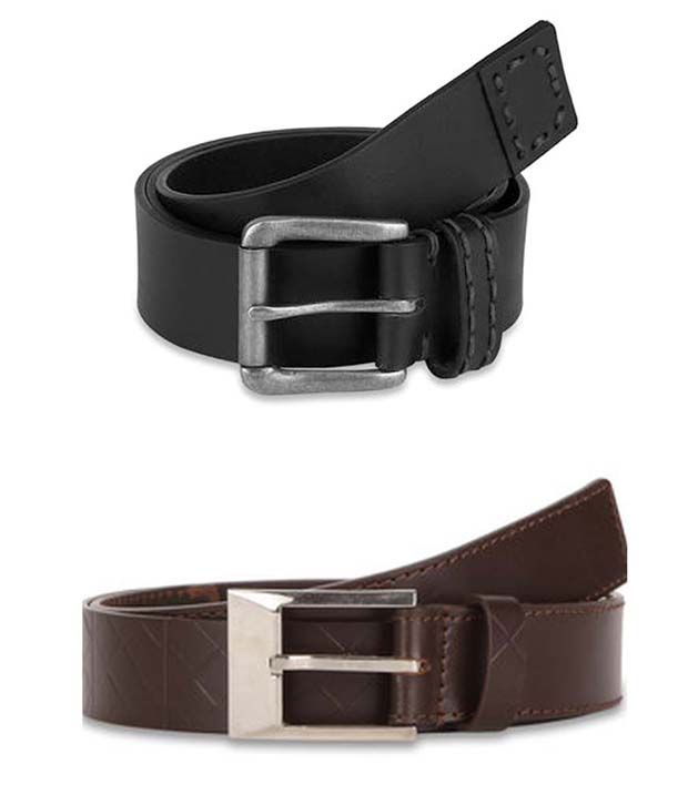 Paradigm Design Lab Combo of Black & Brown Genuine Leather Casual Belts for Men