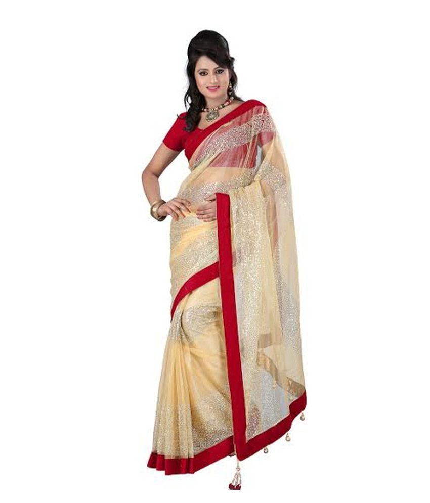 Parchayee White and Red Net Saree