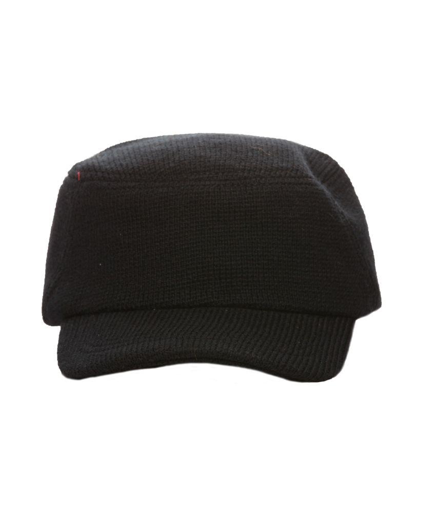 Cat Black Woollen Woolen Cap For Men