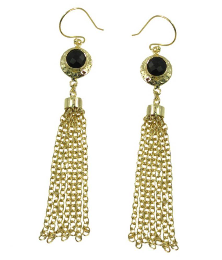Cheevino Black Gold Plated Kundan Drop Earrings