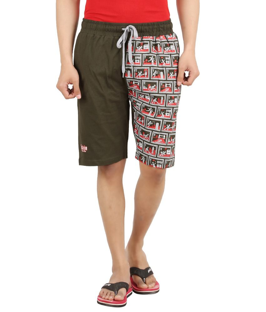 Sixer Green Cotton Printed Shorts
