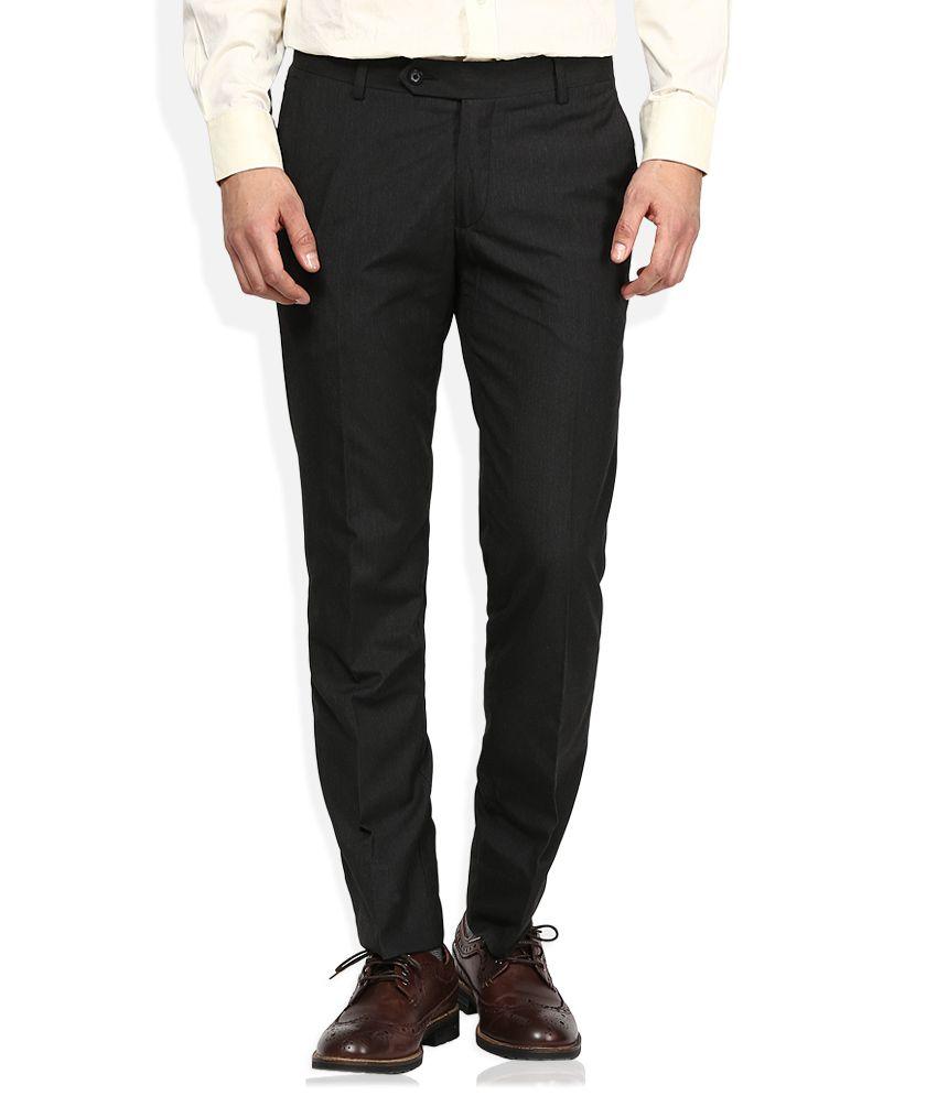 John Players Black Slim Fit Formals Flat Trousers