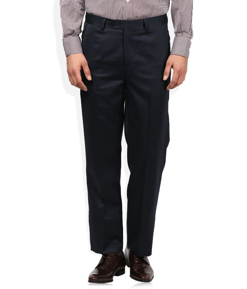 John Players Navy Blue Solid Flat Front Trousers