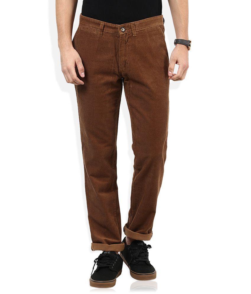 John Players Brown Casual Trouser