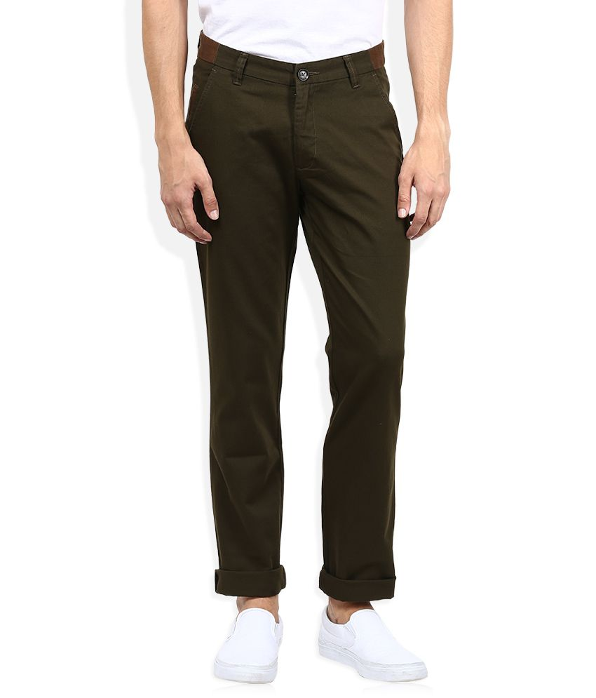 John Players Green Casual Trouser