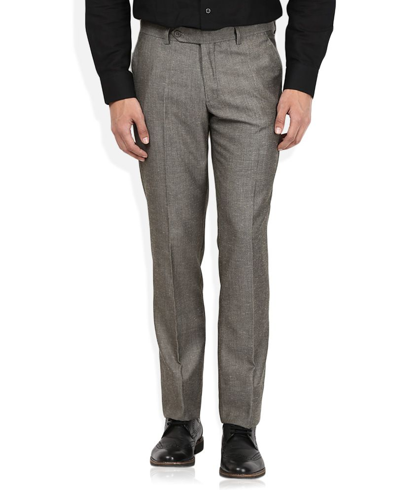 John Players Grey Solid Flat Front Trousers
