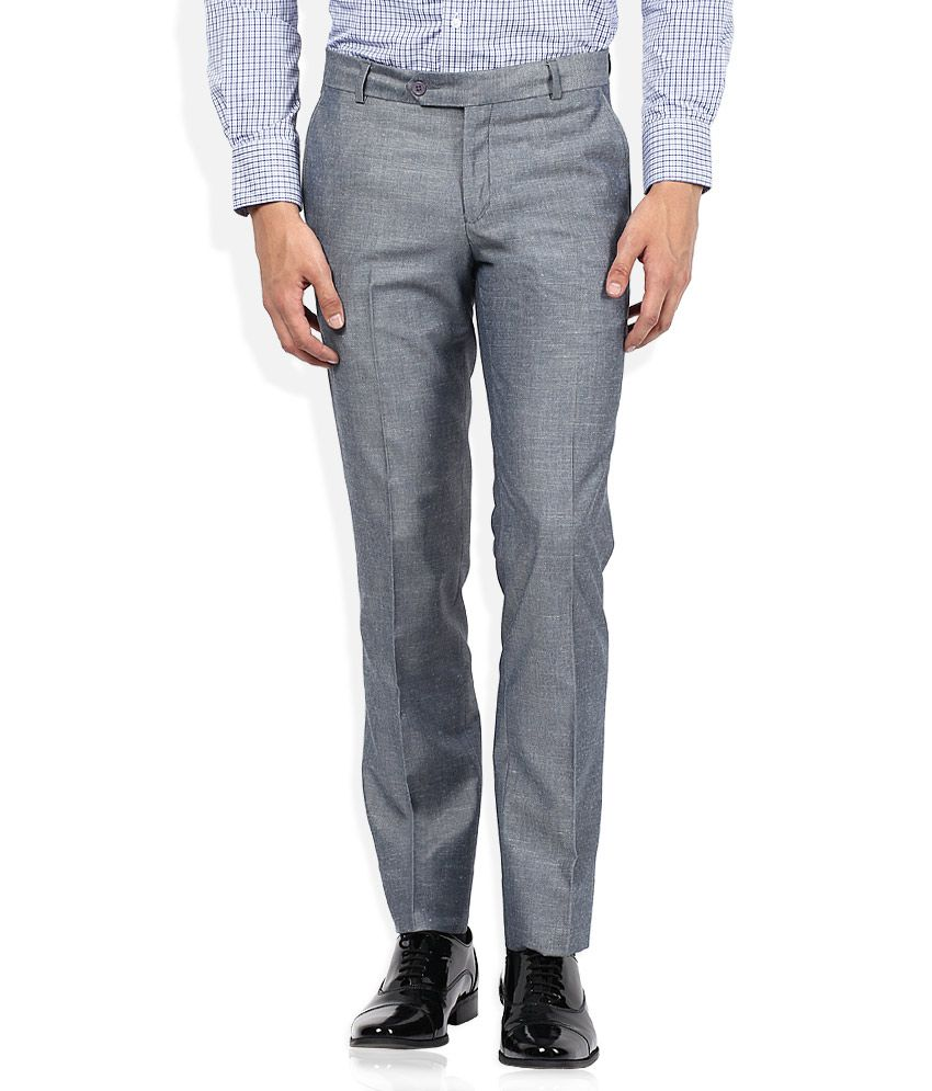 John Players Grey Slim Fit Formals Flat Trousers