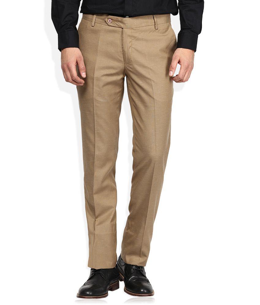 John Players Khaki Slim Fit Formals Flat Trousers
