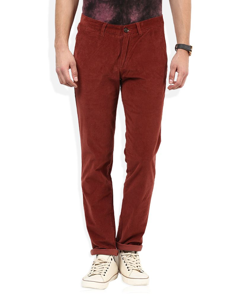 John Players Maroon Solid Chinos