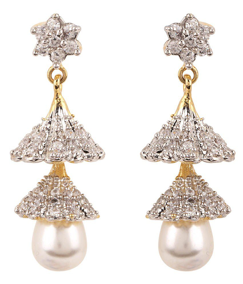 Rajwada Arts Silver Cubic Zirconia Designer Dangle Earrings