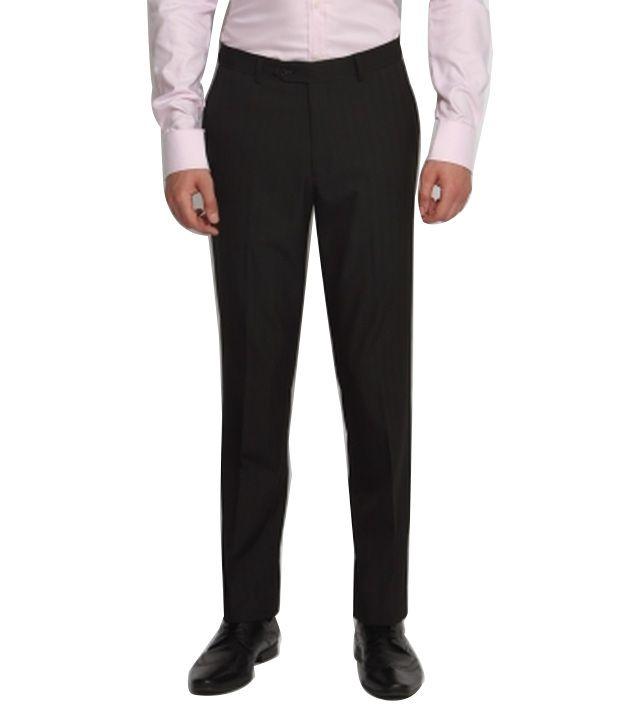 Suitltd Black Poly Viscose Regular Fit Formal Trouser