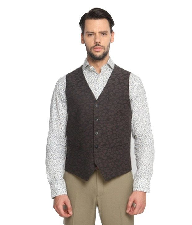 SUITLTD Grey Abstract Slim Fit Waistcoat