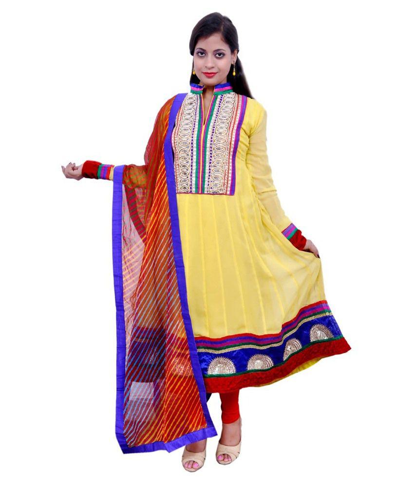 Simera Yellow Pure Georgette Semi Stitched Dress Material