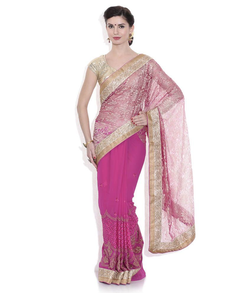 Pothys Pink and Golden Chiffon Printed Saree with Blouse Piece