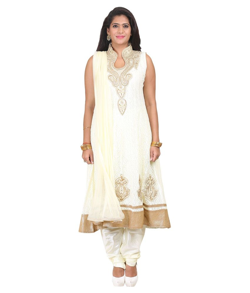 Youvika White Net Stitched Suit
