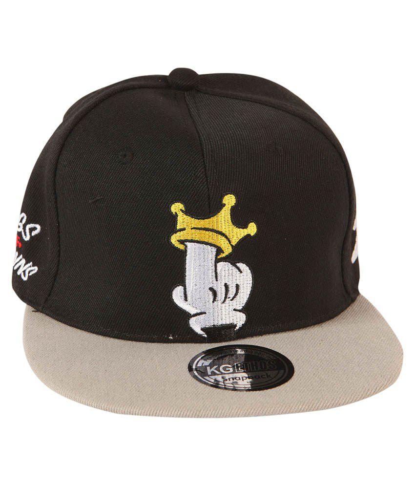 ILU Black Cotton Snapback Hip-hop Cap