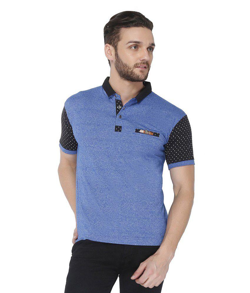 Jazzup Blue Cotton Round Neck T Shirt