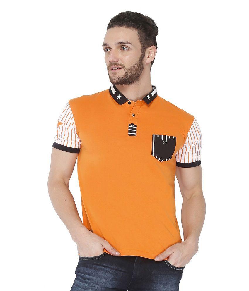 Jazzup Orange Cotton Round Neck T Shirt