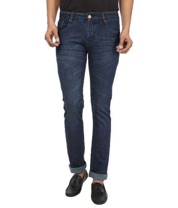 Regale Blue Cotton Slim Fit Denim Jeans