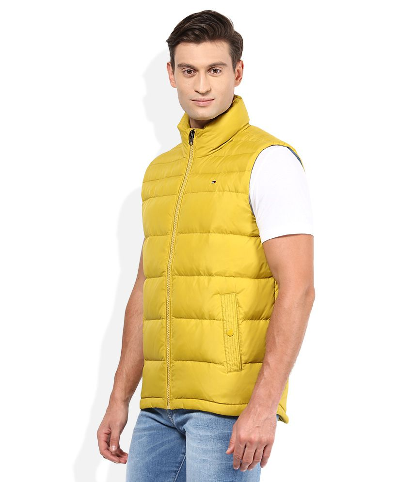 5222306a Tommy Hilfiger Yellow Solid Quilted Jacket - Buy Tommy Hilfiger ...