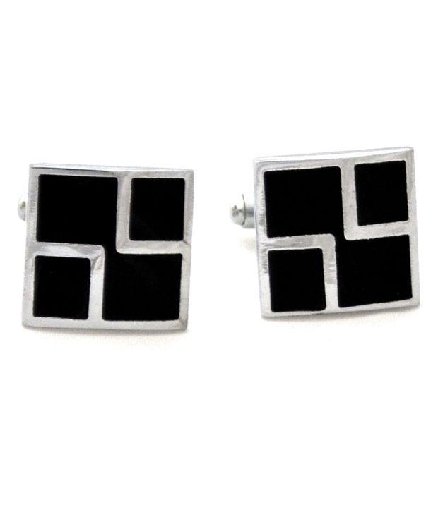 Urban Diseno Black and Silver Metal Crystal Cuff Links
