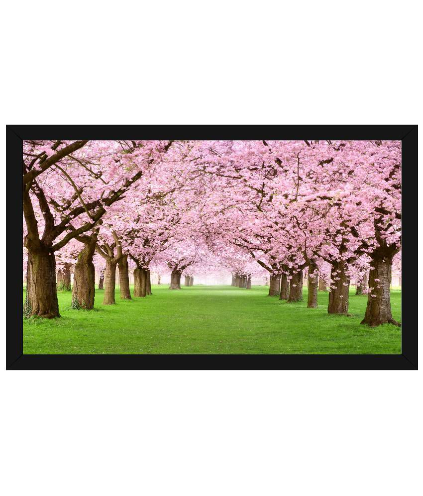 Wow Interiors and Decors Pink & Green Spring Blossom Wooden Framed Painting