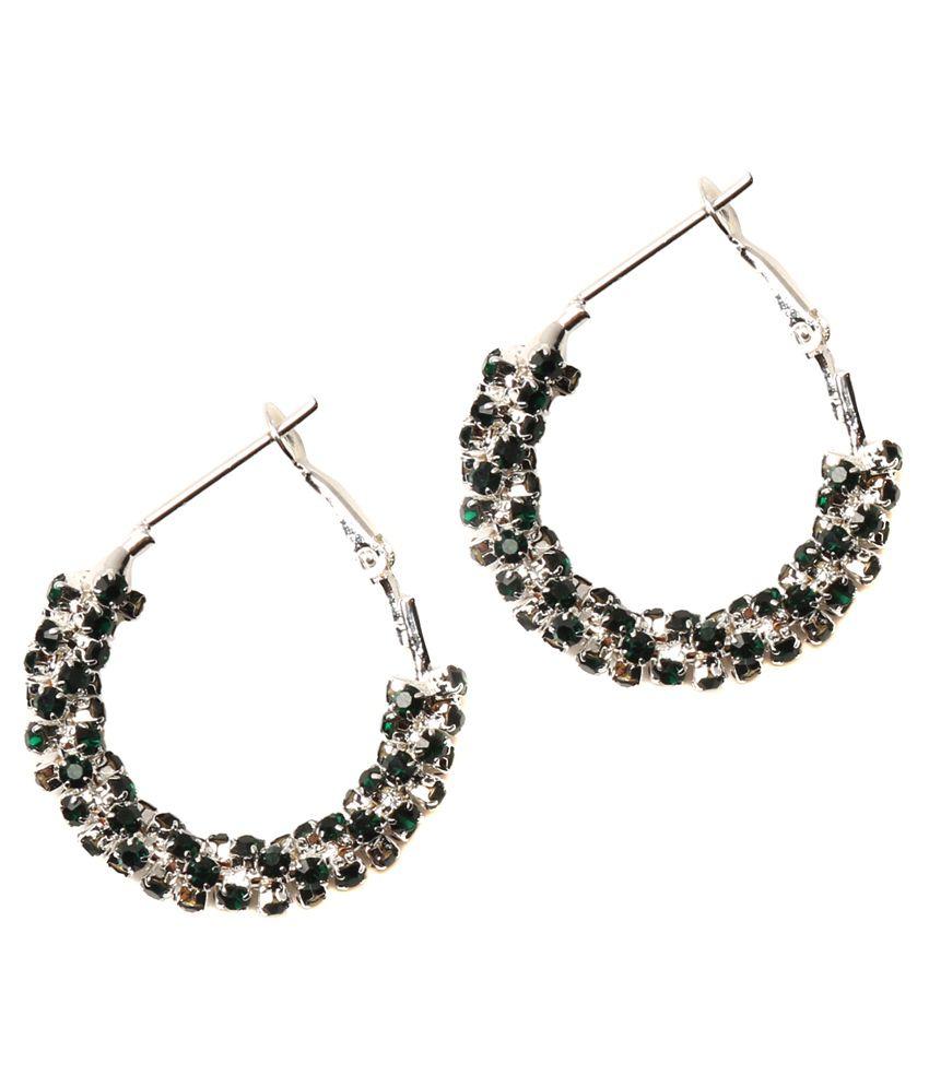 Medallion Collection Black Designer Hanging Earrings