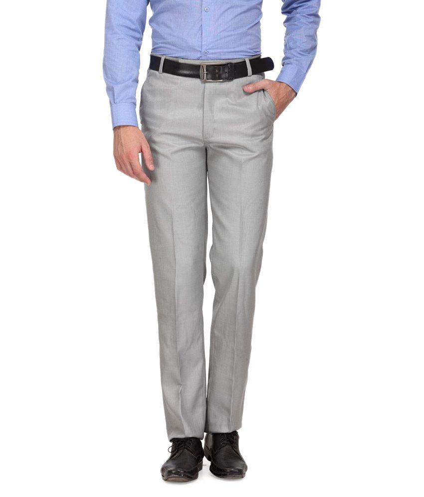 Ausy Grey Slim Fit Flat Trouser