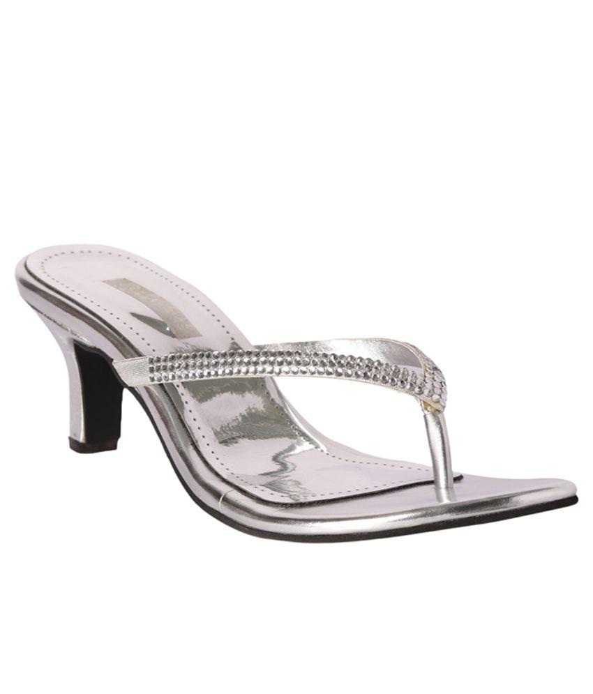 Pantof Silver Ethnic Slip-Ons