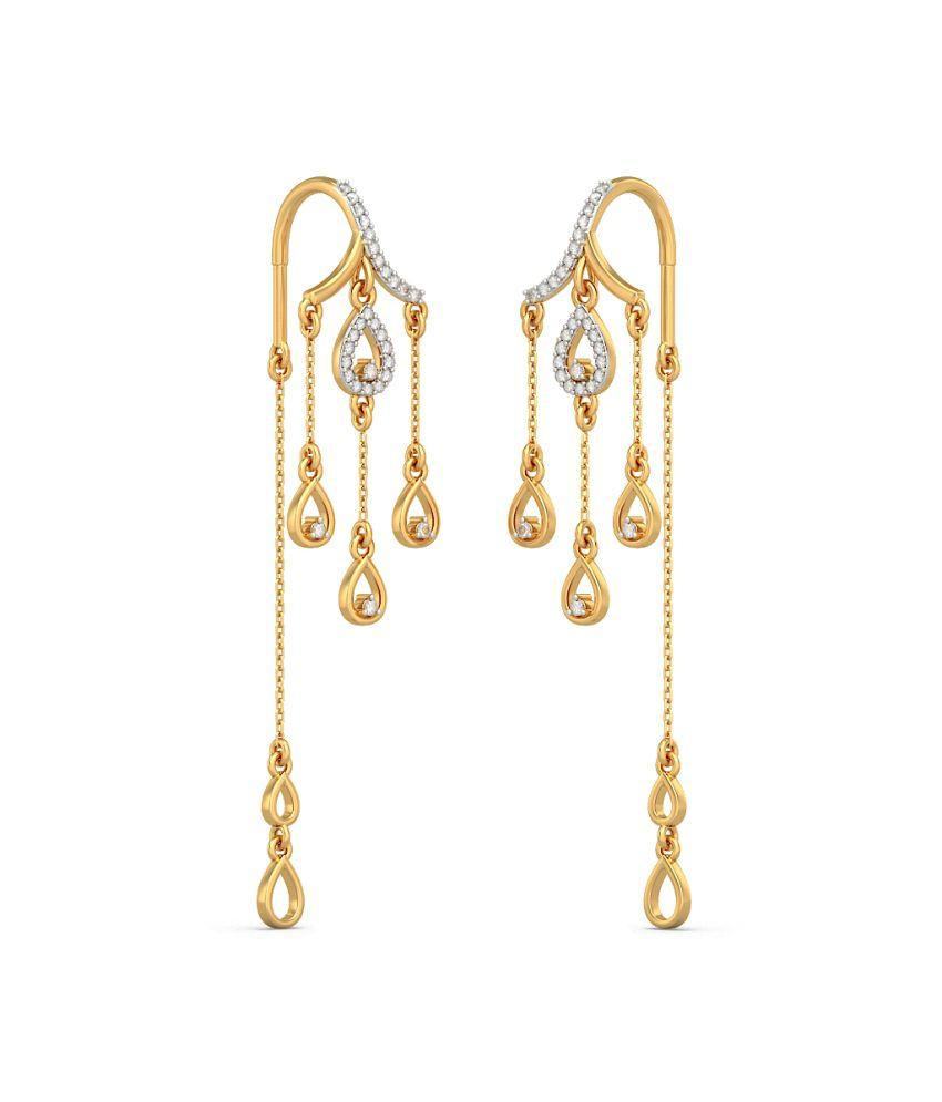 Bluestone 18kt Yellow Gold Diamond Ornate Affair Earrings