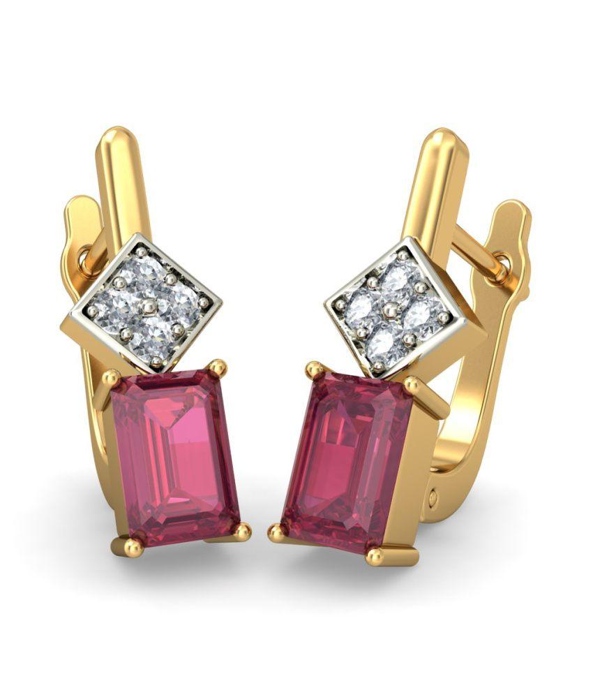 BlueStone 18kt Yellow Gold Diamond & Ruby Nida Earrings