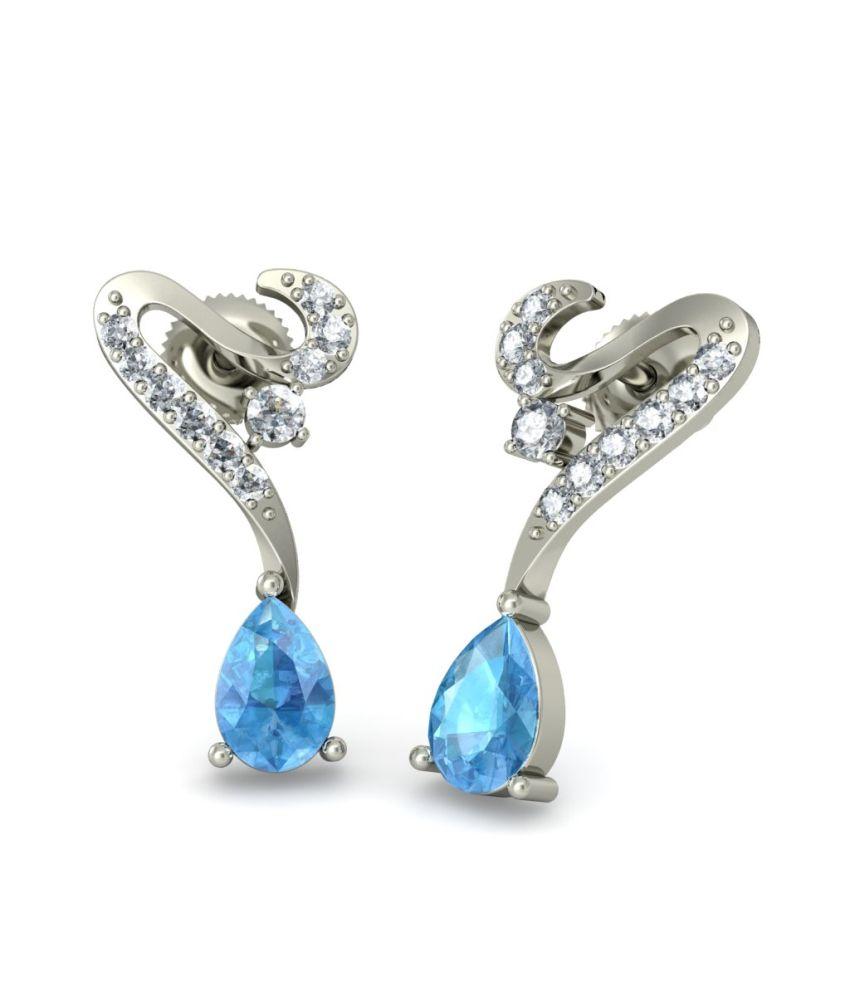 BlueStone 18kt White Gold Diamond & Topaz Chantelle Earrings