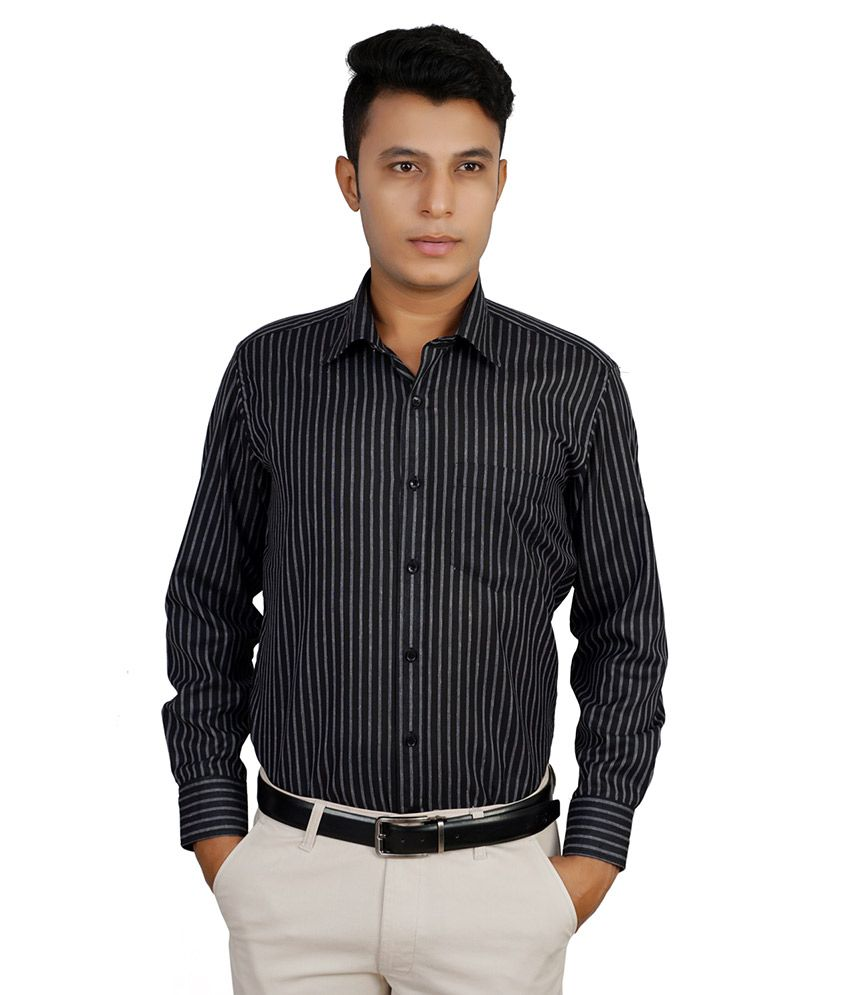 143c32562b3 Helg Stripes Comfort Fit Full Sleeves Black Linen Formal Shirt For Men -  Buy Helg Stripes Comfort Fit Full Sleeves Black Linen Formal Shirt For Men  Online ...