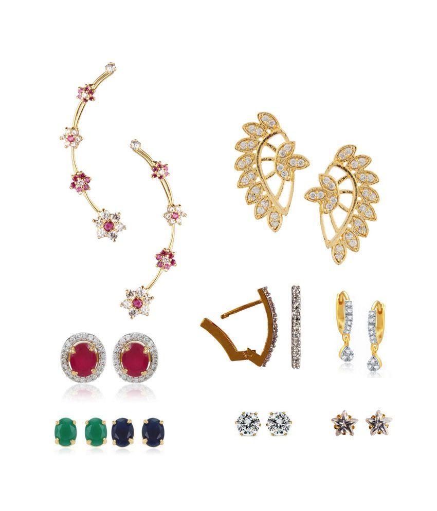 Parijaat Multicolour Style Diva Earring - Combo of 9