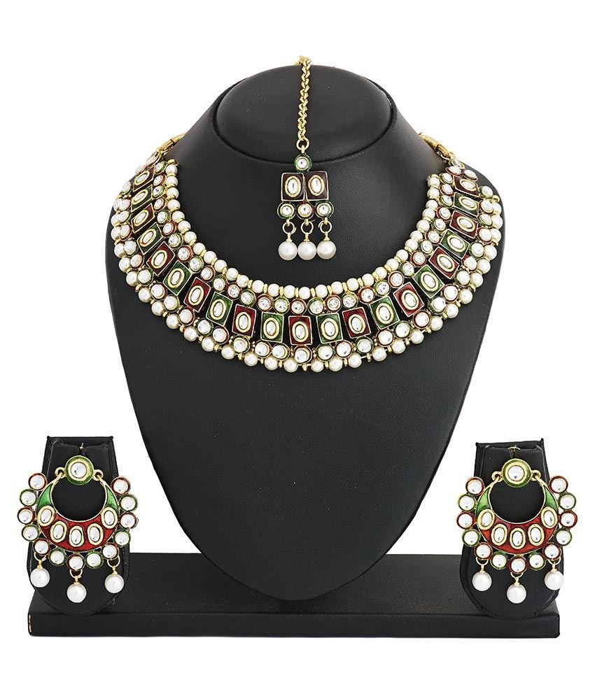 The Jewelbox Multicolour Wedding & Engagement Wear Necklace Set